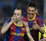 Iniesta Celebrating his Goal for FC Barcelona against Shaktar