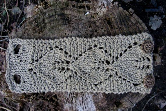 Knit Linen Cuff Bracelet Leaf Lace Cuff Handmade in Oatmeal Irish Linen Hand Knit Fiber Jewelry by Textilesone Ready to Ship