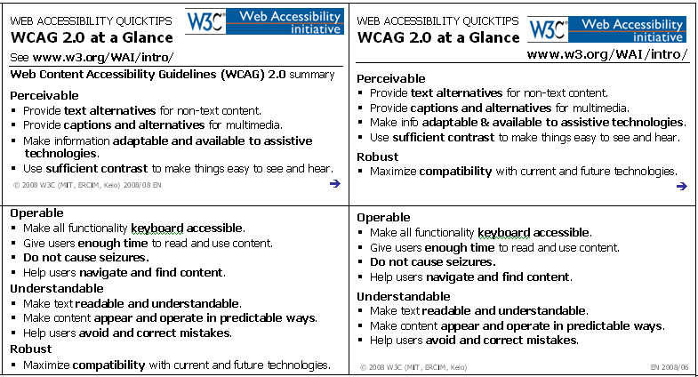 Tarjetas Quick Tips de las WCAG 2.0