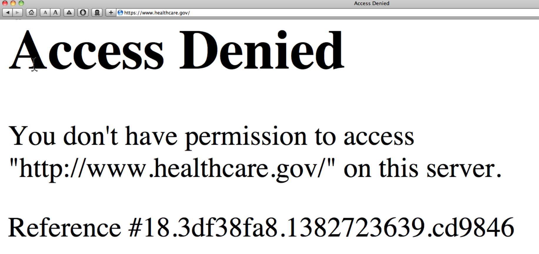Obamacare website 'access denied' Oct. 25, 2013