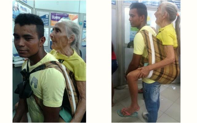 idosa carregada