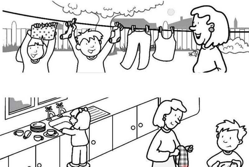Ev Isleri Boyama Sayfasi 3 Okul öncesi Etkinlik Faliyetleri