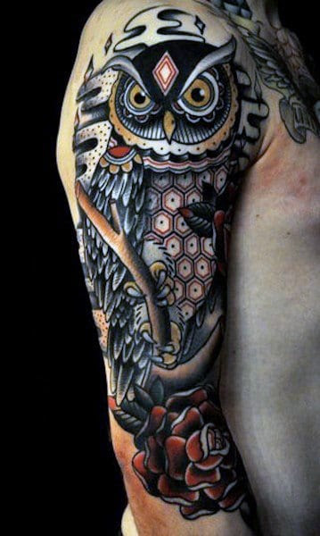 Owl Flower Sleeve Tattoos