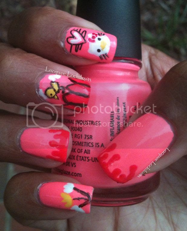 Lacquer Lockdown - Hello Kitty, freehand, stamping, neon pink, China Glaze Flip Flop Fantasy, drip manicure, Orly Passionfruit, stamping, nail art