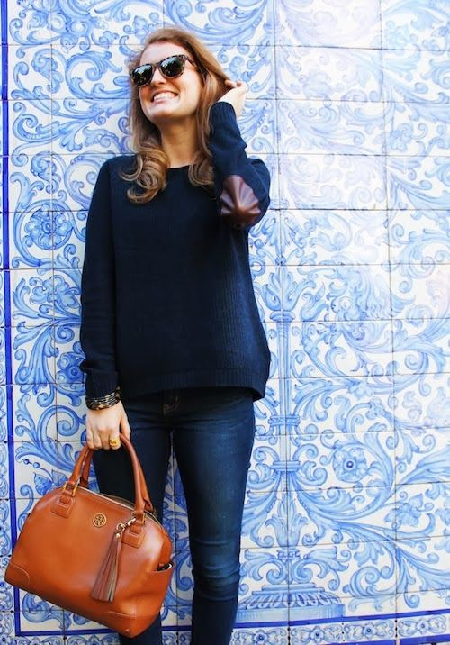 oversized navy sweater with elbow patches