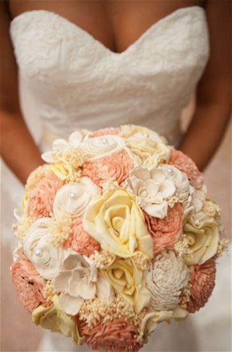Custom Handmade Wedding Bouquet   Peach Yellow Rose Bridal