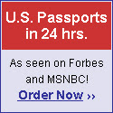 US passports in 24hrs, as seen on Forbes and MSNBC! Order Now