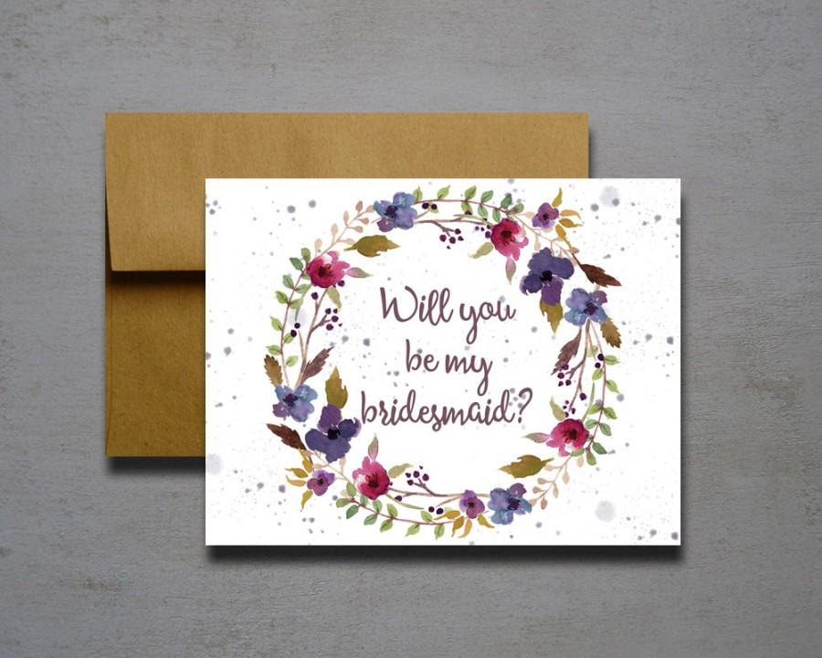 Purple And Maroon Watercolor Flower Will You Be My Bridesmaid Will
