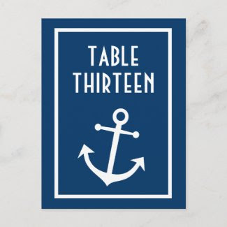 Boat Anchor Table Numbers (Dark Blue / White) Post Cards
