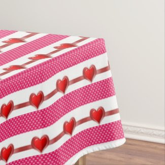 Valentine's Day Pink and White Hearts Tablecloth