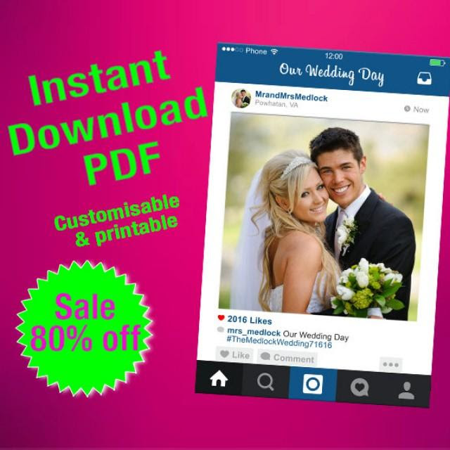 Instagram Frame Pdf Fully Customised Photo Booth Prop Personalised