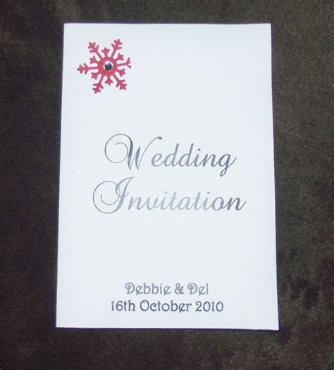 Winter wedding Snowflake invitations day or evening A6