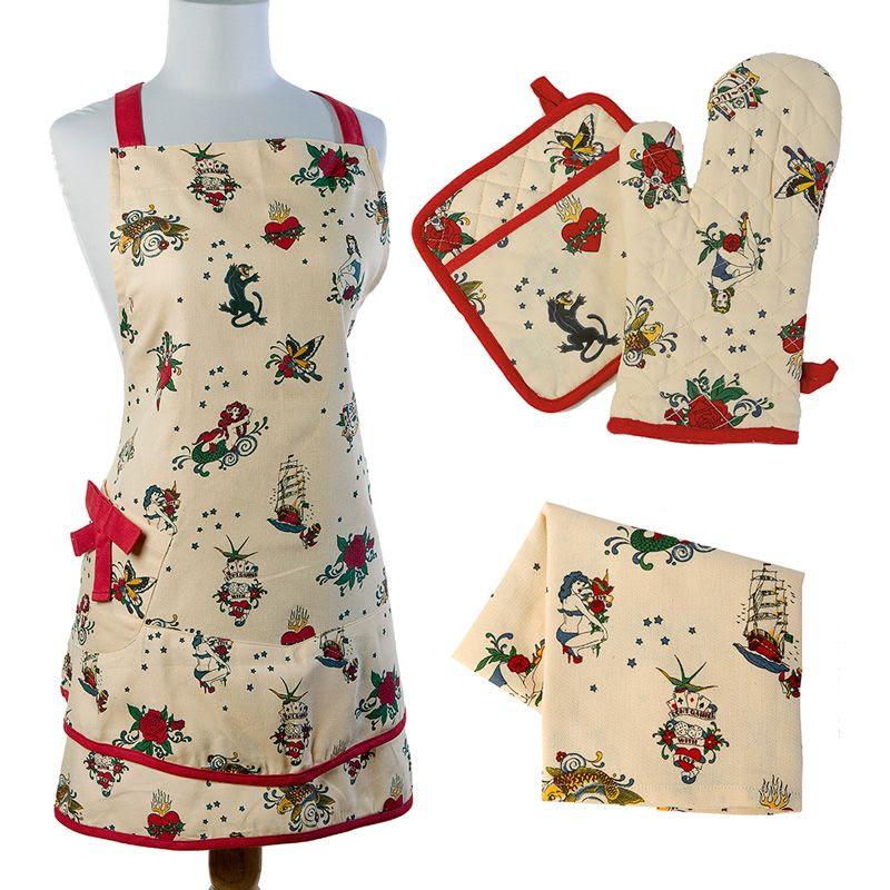 Chronically Vintage: Sin in Linen Tattoo Kitchen Linen Set ...