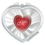 White Satin & Red Diamond Heart | Monogram Makeup Mirrors