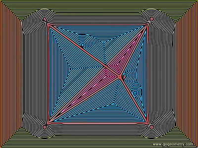 Geometric Art: Isolines or Contour Lines of Problem 1204, Square and Triangles. Software, iPad