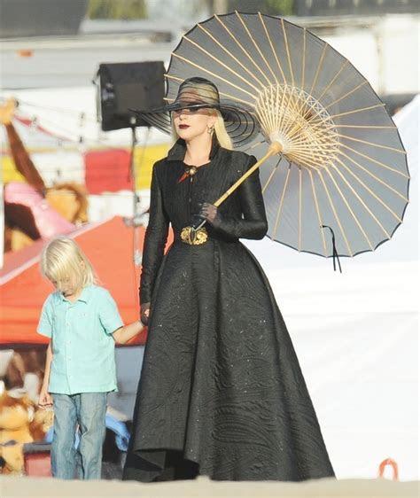 Lady GaGa Dress in All Black for A Beach Carnival Scene