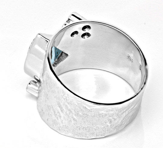 Original-Foto 3, DIAMANT-AQUAMARIN-RING HANDARBEIT 18K WEISS LUXUS! NEU!