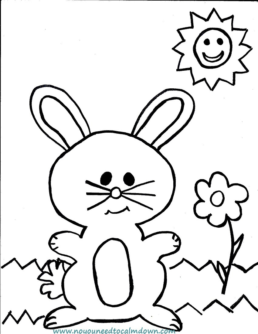 Easter Bunny Coloring Page for Kids - Free Printable | No ...