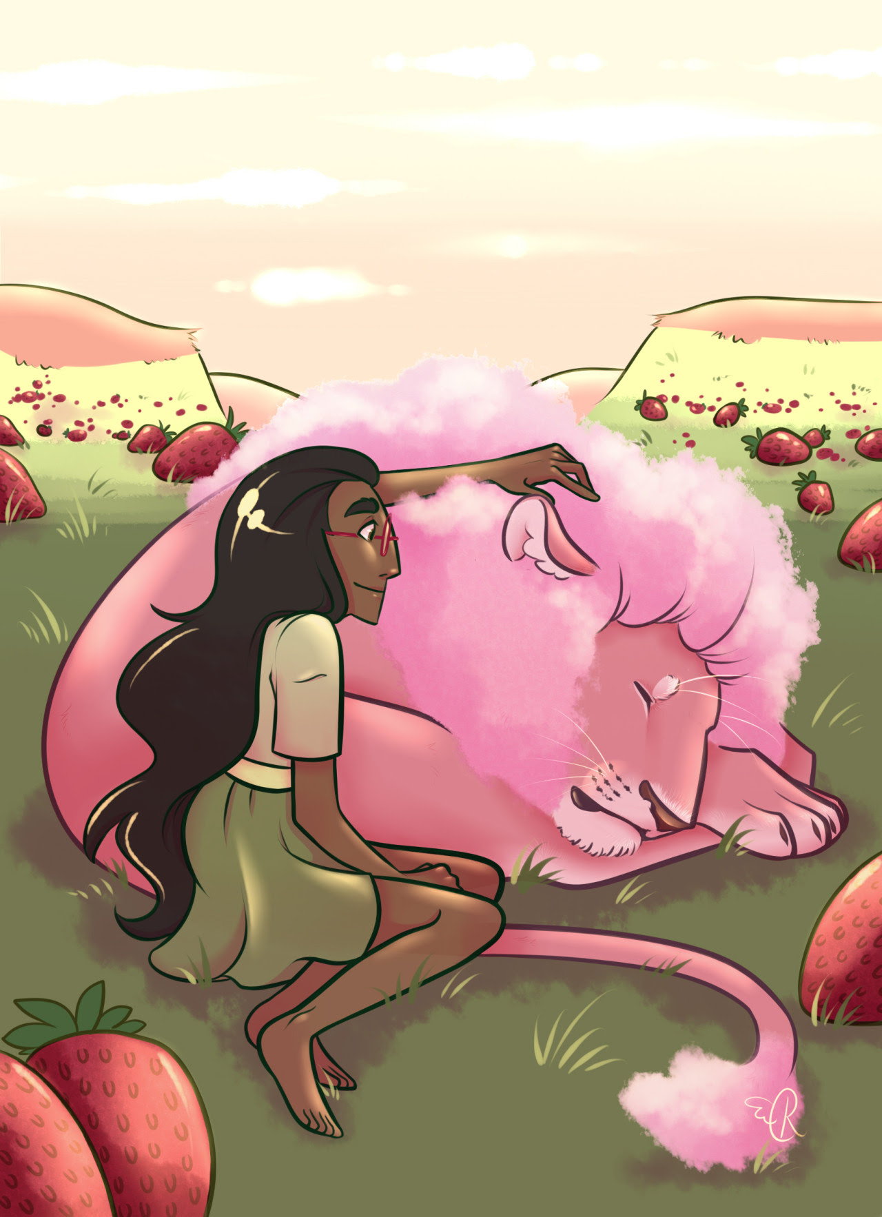 here's another print I'll be selling at ICE in september! I love…lion…I love connie…and also I love strawberries and pink/green colour schemes…