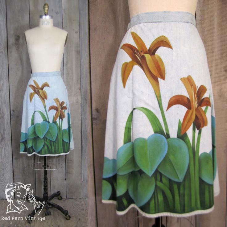 Vintage Hand Painted Denim Skirt, Small. $25.00, via Etsy.