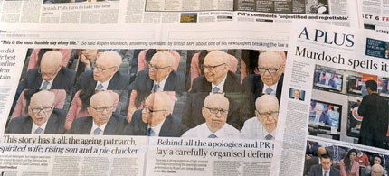 Newspapers in Melbourne on July 21, 2011, with coverage dominated by Rupert Murdoch's appearance before a British parliamentary committee. (photo: William West/AFP/Getty Images)