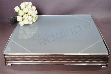 Wedding Square Frosted Glass 20 inch Cake Stand   Hire