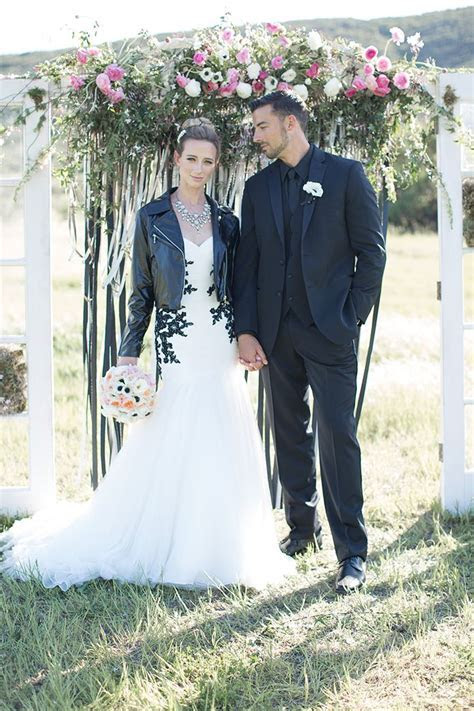 Leather and lace wedding photo shoot Bride black lace