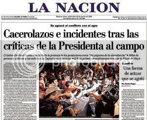 La Nación cover, March 26, 2008