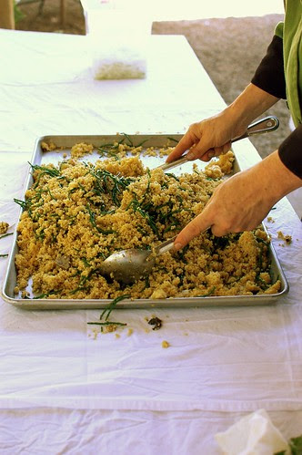 millet salad with sea beans and wild mushrooms