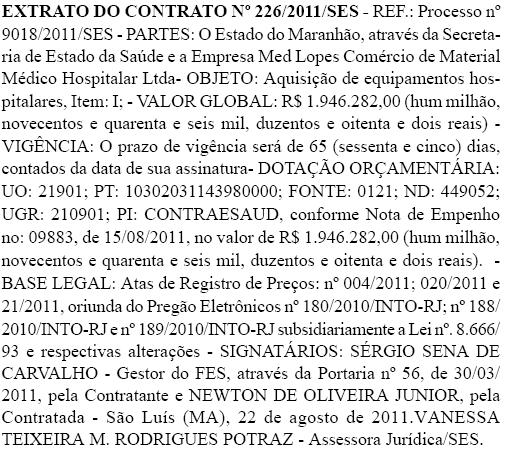 Extrato do contrato entre a Secretaria de Saúde do Estado e a Med Lopes Comércio de Material Médico Hospitalar Ltda. Foto: Reprodução / Diário Oficial do Estado do Maranhão