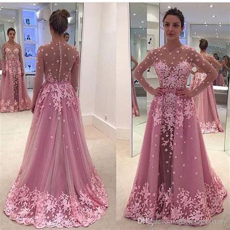 Pink Vintage Lace Overskirt Evening Dresses 2017 A Line