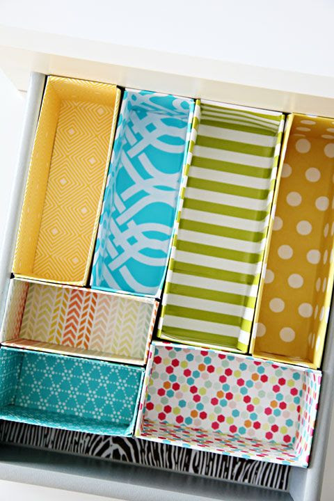 "Make drawer dividers with covered cereal boxes ("",)"