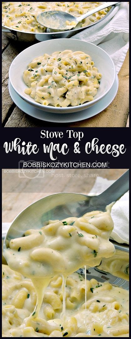 Stove Top White Mac and Cheese is uber cheesy, only uses one pot, and is done in no time flat. Who needs a box when you can have this? From www.bobbiskozykitchen.com