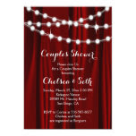 String of Lights on Deep Red Satin Couple's Shower 5x7 Paper Invitation Card