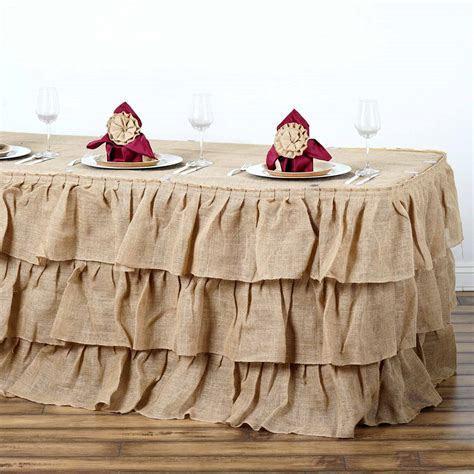 14ft 3 Tier Rustic Ruffled Burlap Table Skirt   Natural
