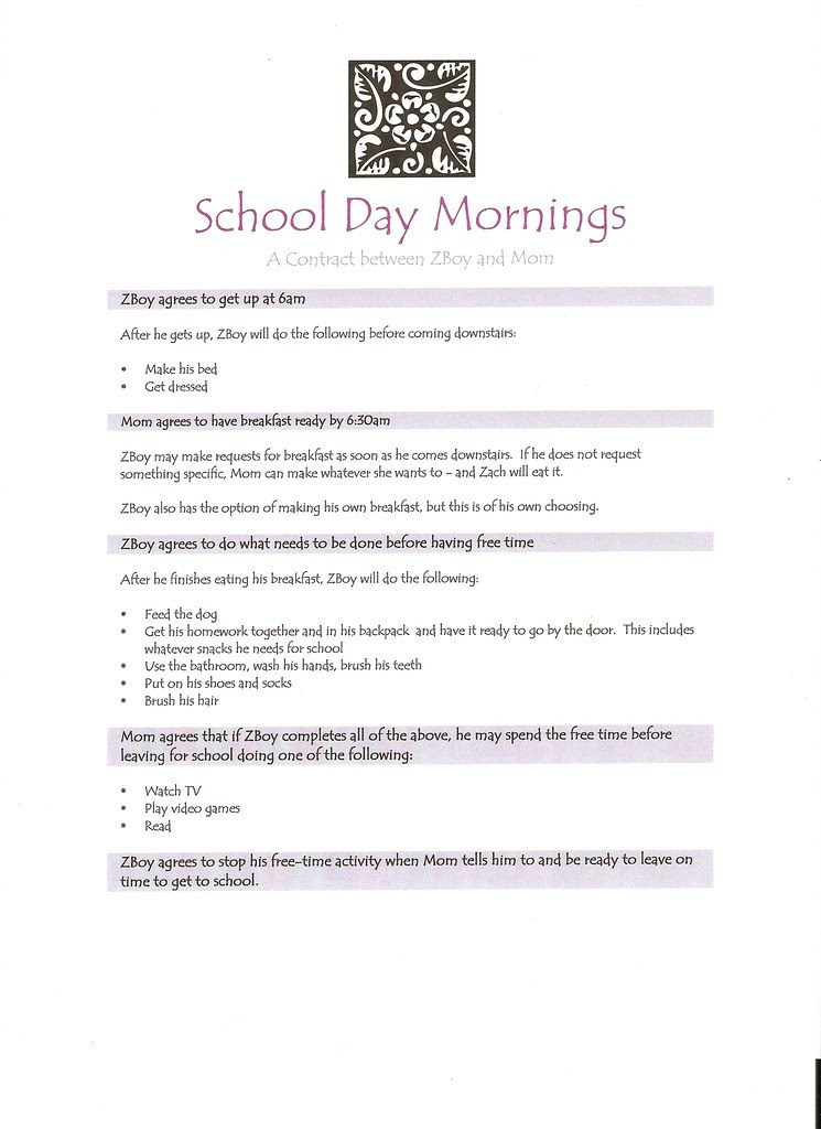 School Day Contract