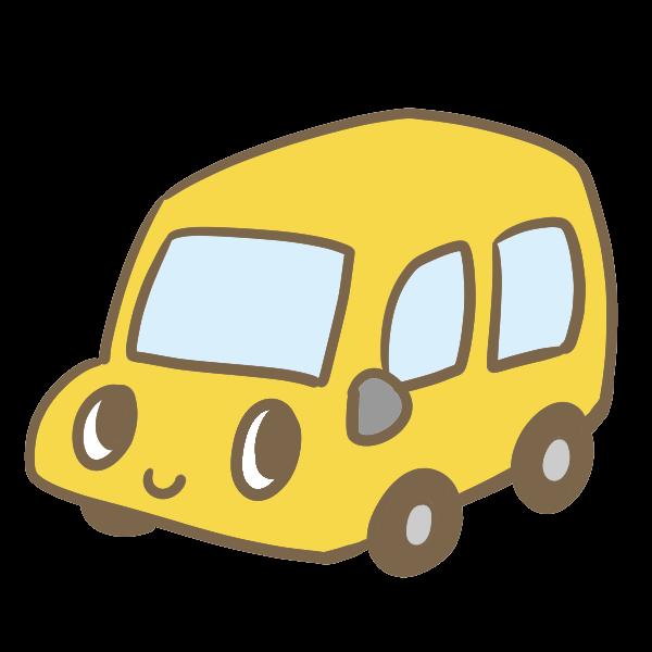 カワイイ車黄のイラスト かわいいフリー素材が無料のイラストレイン