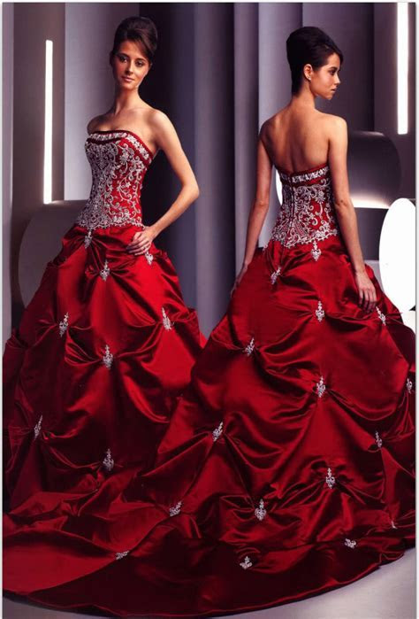 Bridesmaid Dresses In Red And White & Elegant And