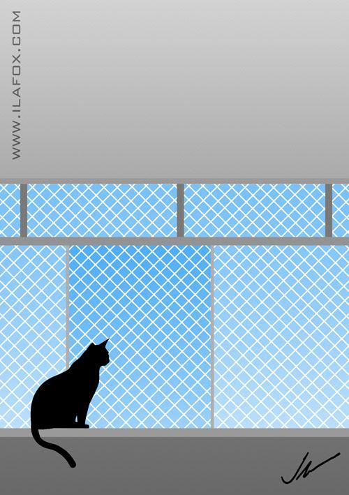Onde começa a segurança e termina a liberdade? gato olhando através da tela de proteção