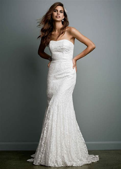 galina petite strapless lace wedding dress  ribbon