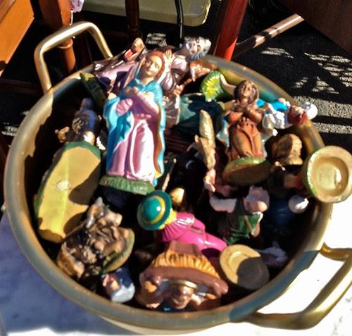 Pot full of Nativity Characters