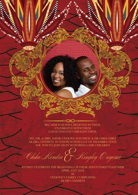 Printable African Wedding Invitation Card