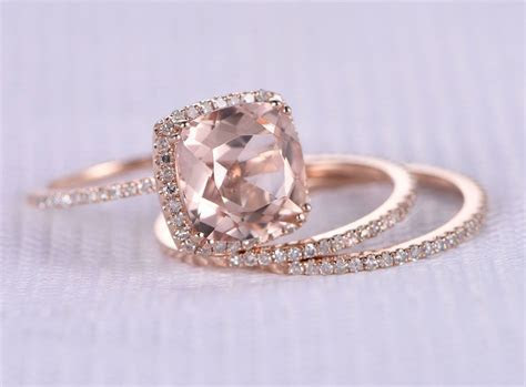 3pcs Wedding Ring Set,Morganite Engagement ring,9mm Big