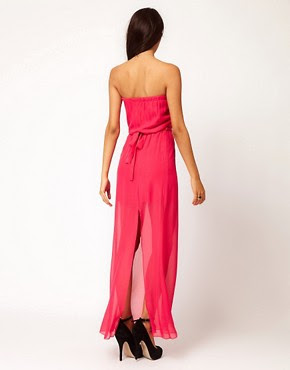 Image 2 ofClub L Bandeau Maxi Dress With Sheer Skirt