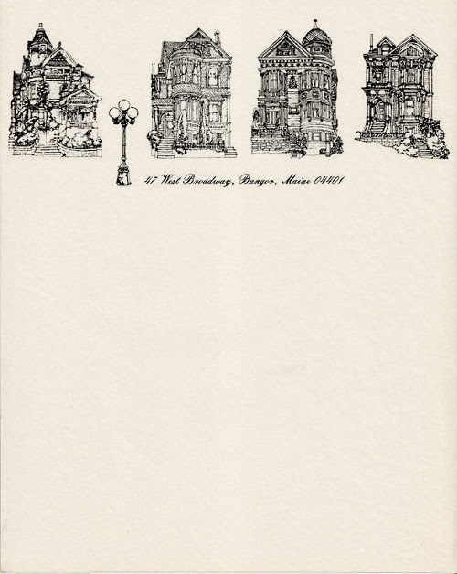 Novelist Stephen King's personal letterhead from the early-80s.  Stephen King, 1982 | Source