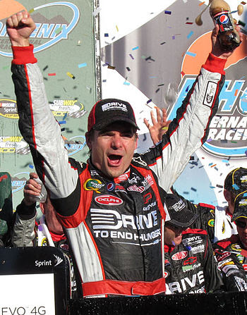 Jeff Gordon with the Subway Fresh Fit trophy i...