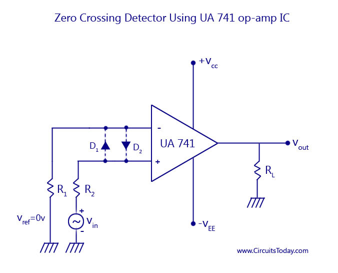 Zero-Crossing Detector Using UA741 op-amp IC