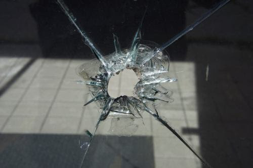 A small hole in glass can become wider over time if left unattended. A hole or damage to one's heart can also leader to further pain if left unattended.