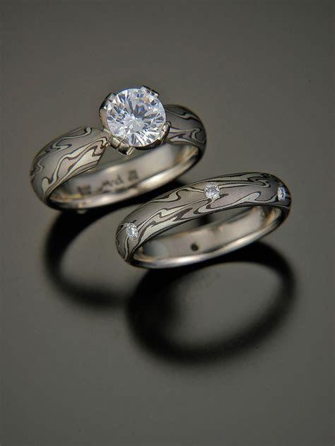 Michael Daniels mokume gane engagement ring and wedding