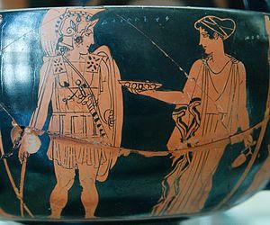 Achilles departing, the Nereid Kymothea holdin...